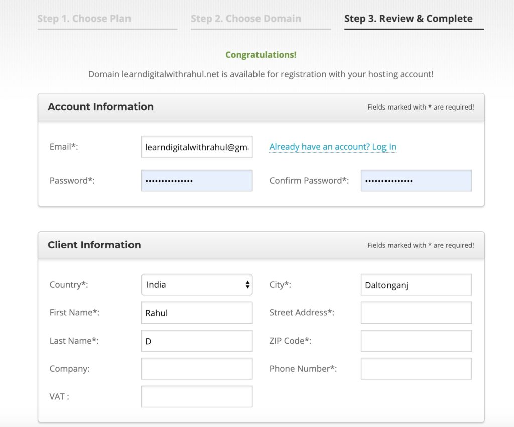 Create Hosting Account - Step by Step Guide to Start A Blog