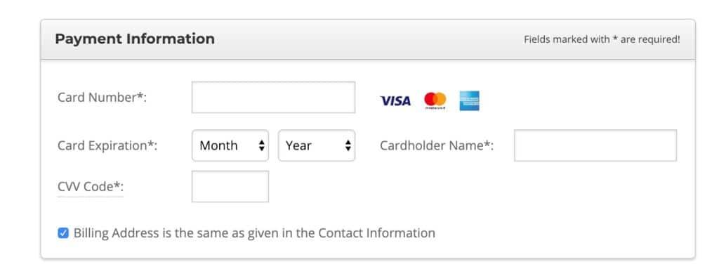 Start WordPress Blog Step by Step - Enter Payment Details